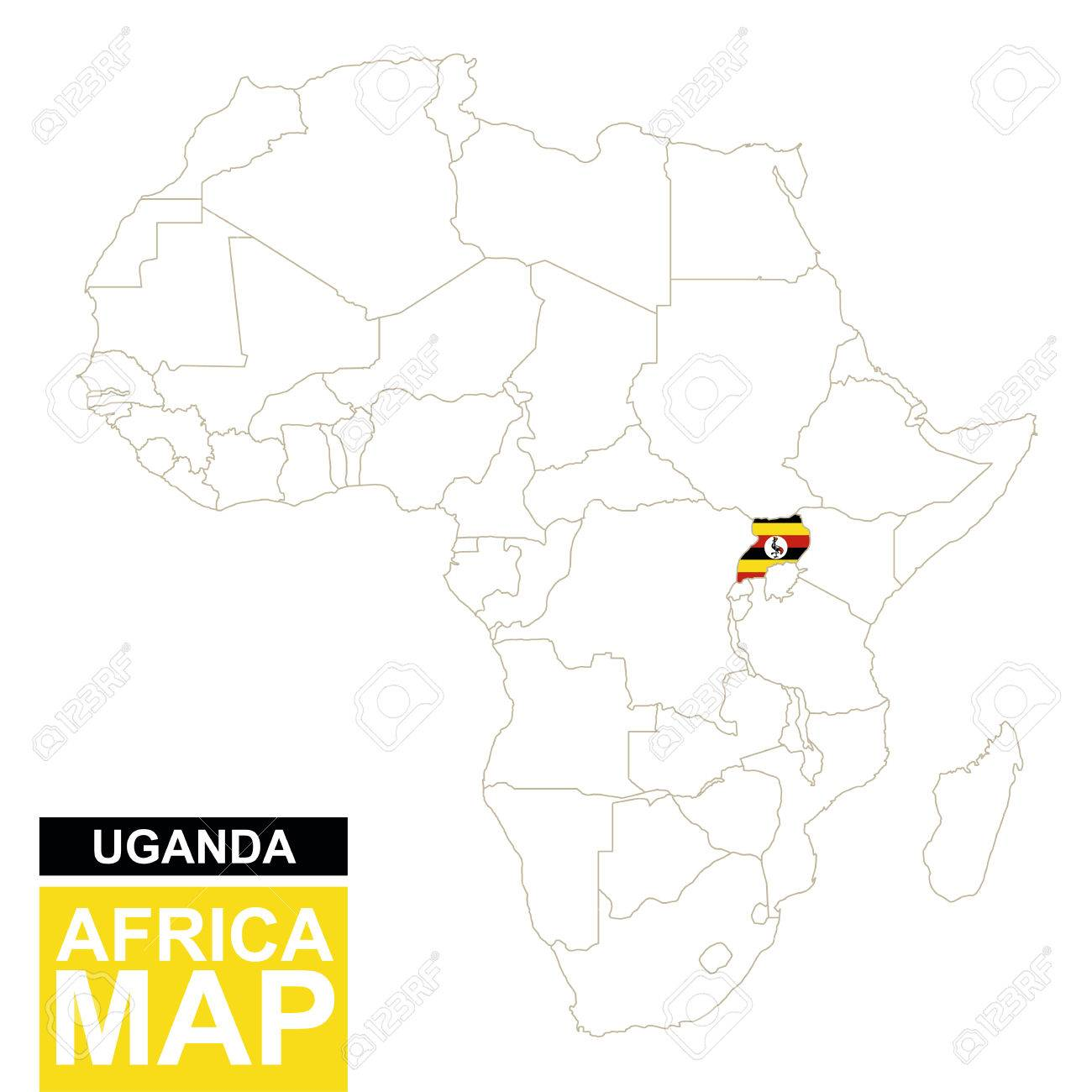 Africa Contoured Map With Highlighted Uganda Uganda Map And