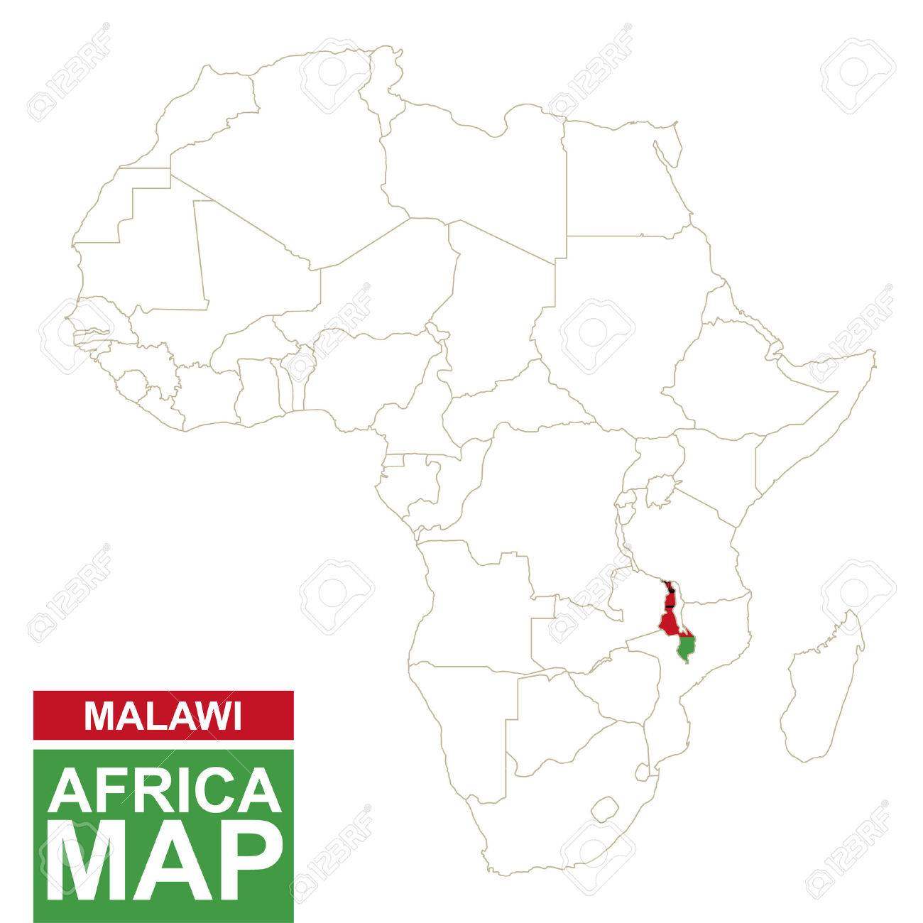 Malawi On Africa Map.Africa Contoured Map With Highlighted Malawi Malawi Map And