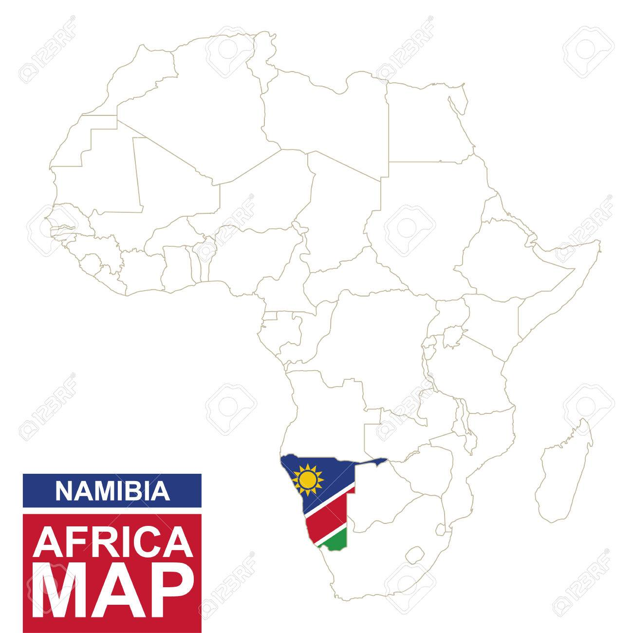 Namibia On Africa Map.Africa Contoured Map With Highlighted Namibia Namibia Map And