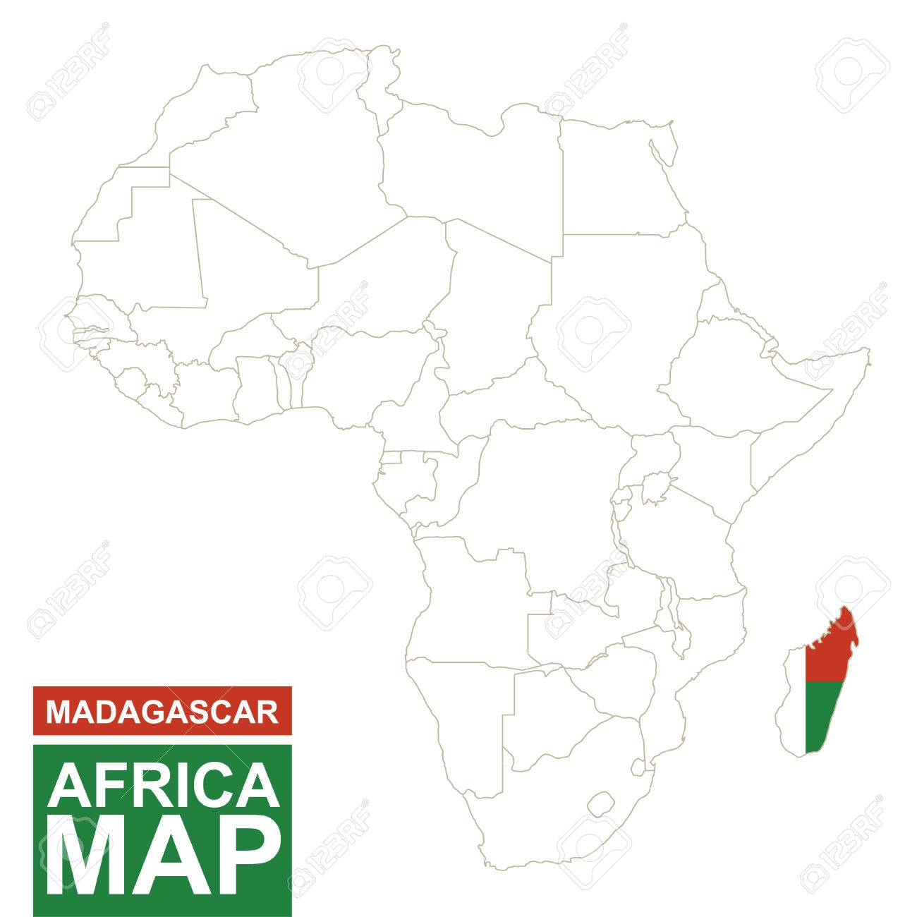 Africa Contoured Map With Highlighted Madagascar Madagascar