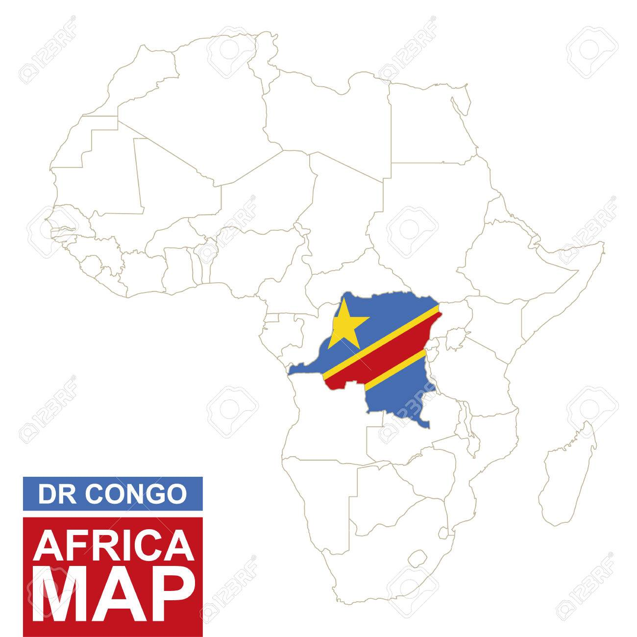 Congo On Africa Map.Africa Contoured Map With Highlighted Democratic Republic Of
