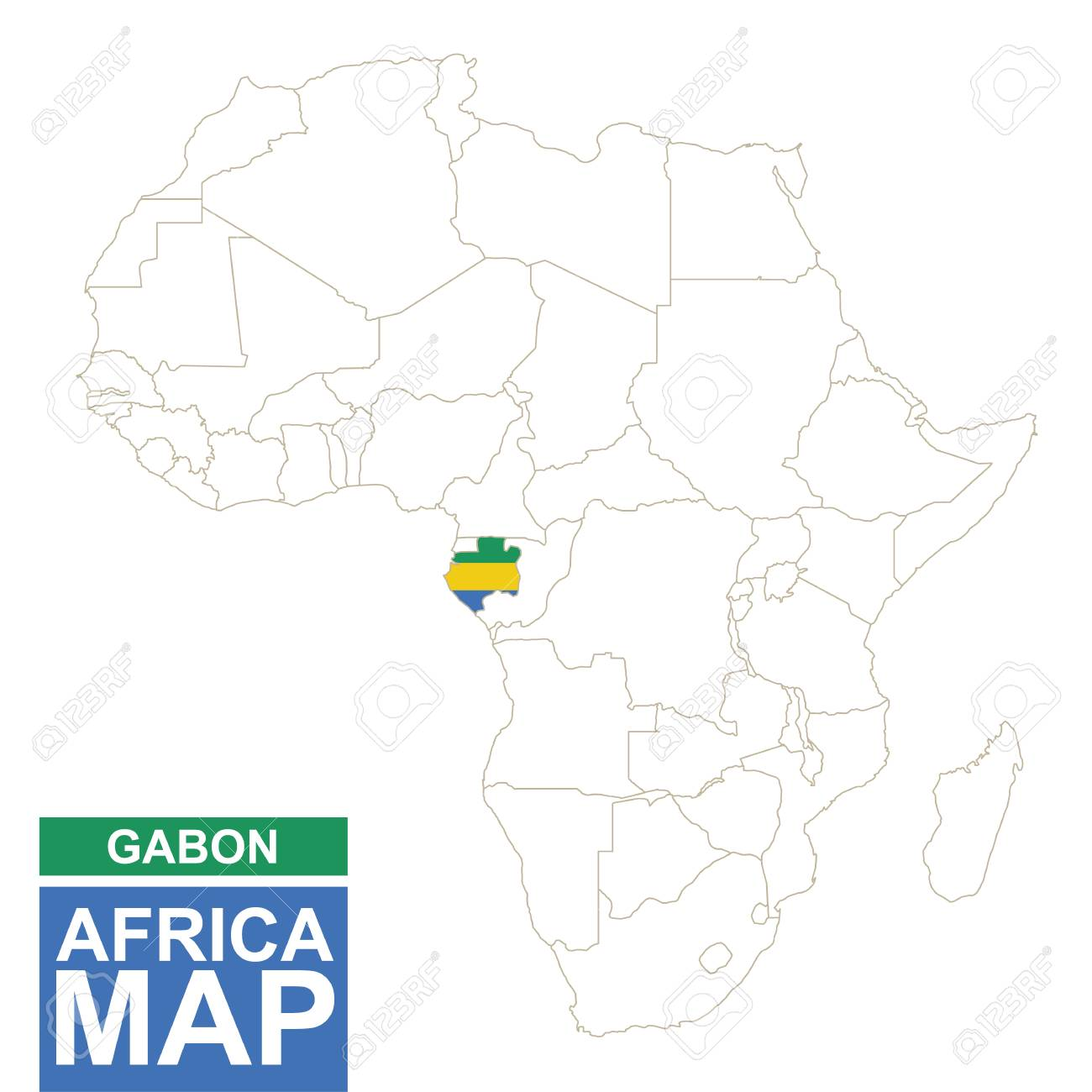 Africa Contoured Map With Highlighted Gabon Gabon Map And Flag
