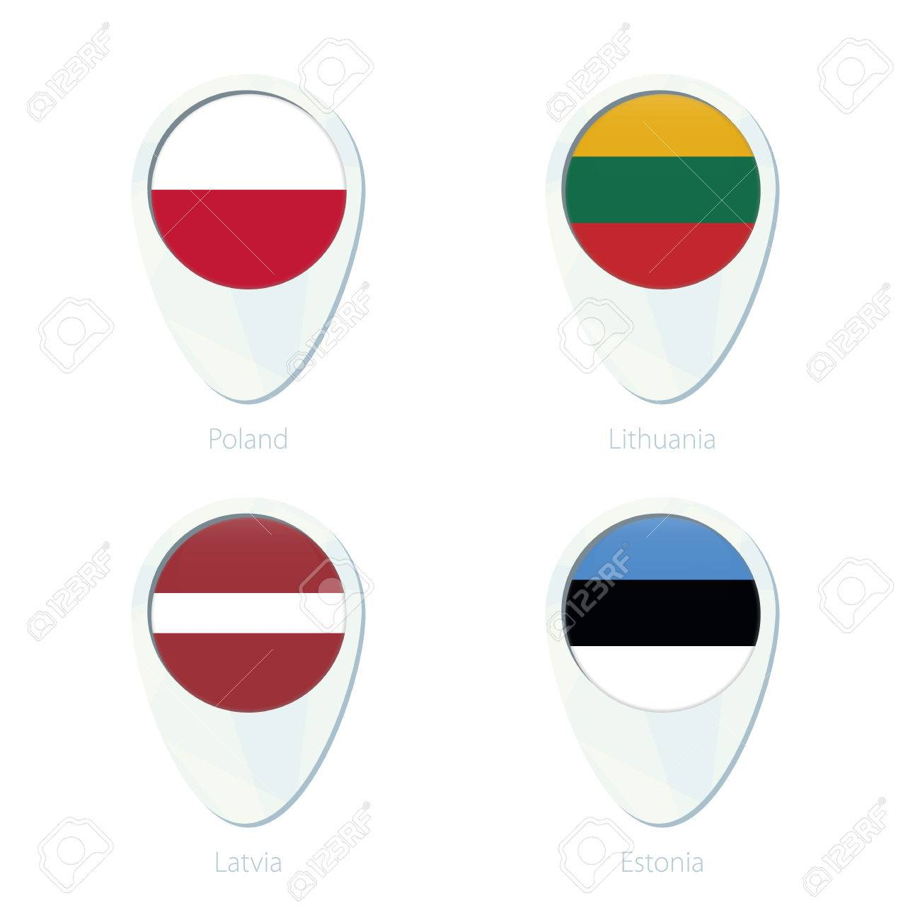 Poland Lithuania Latvia Estonia Flag Location Map Pin Icon
