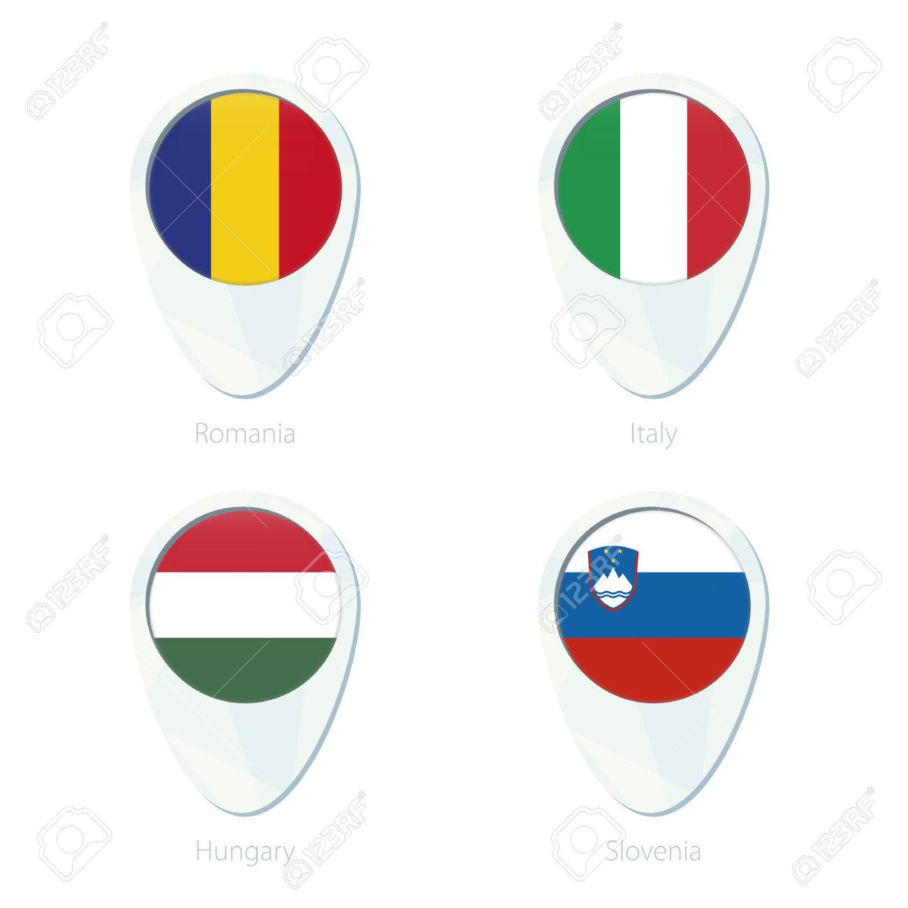 Romania, Italy, Hungary, Slovenia Flag Location Map Pin Icon ...