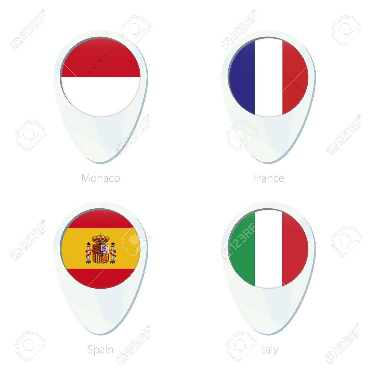 Monaco France Spain Italy Flag Location Map Pin Icon Monaco