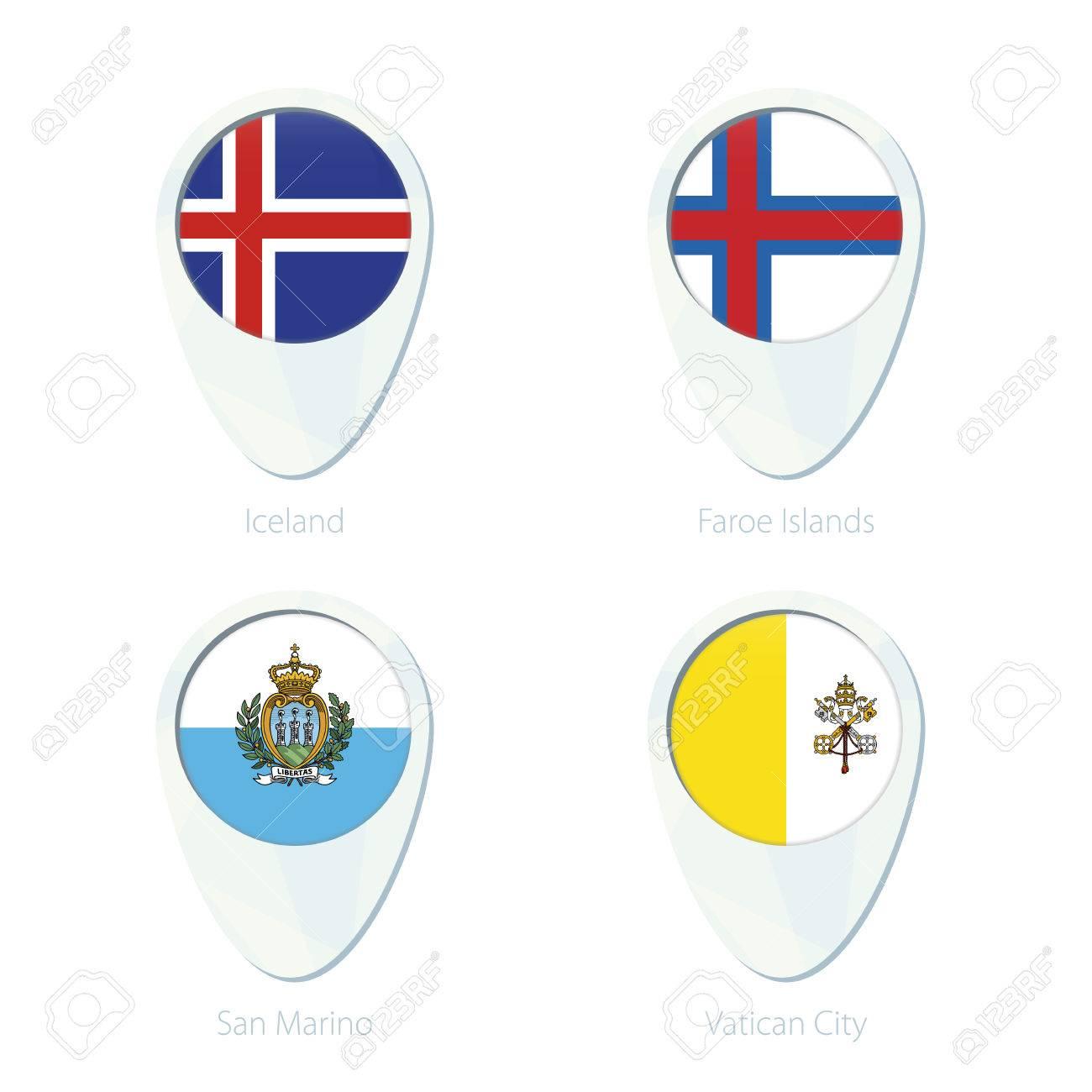 Iceland, Faroe Islands, San Marino, Vatican City flag location..