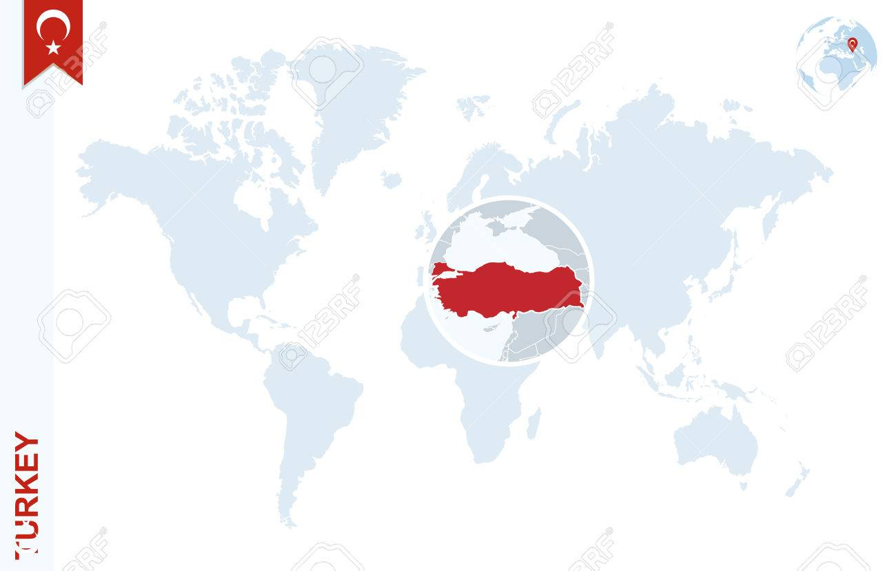 World map with magnifying on Turkey. Blue earth globe with Turkey flag pin. Zoom on Turkey map. Vector Illustration - 58791686