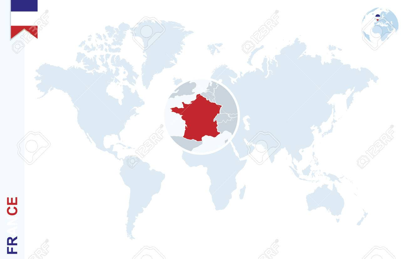 World map with magnifying on France. Blue earth globe with France flag pin. Zoom on France map. Vector Illustration - 58791687