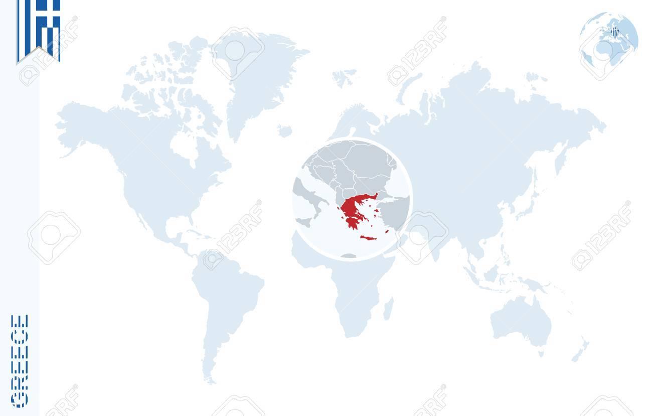 Carte Du Monde Avec Loupe Sur La Grèce Globe Terrestre Bleu Avec Broche De Drapeau De La Grèce Zoom Sur La Carte Grèce Vector Illustration