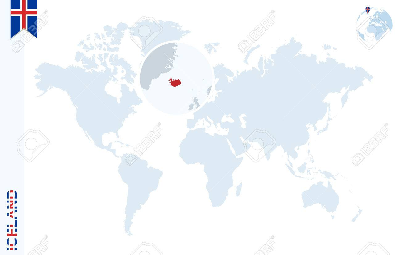 World Map With Magnifying On Iceland. Blue Earth Globe With Iceland ...