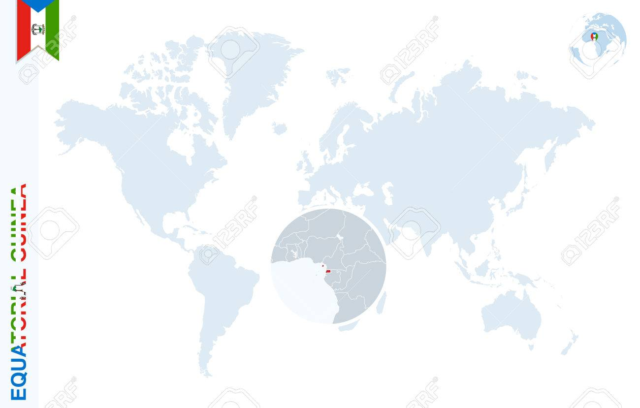 World map with magnifying on Equatorial Guinea. Blue earth globe..