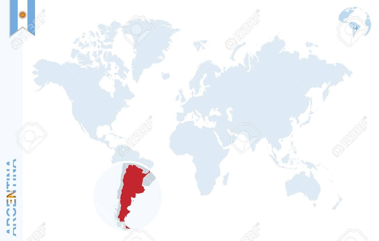 argentine carte du monde Carte Du Monde Avec Loupe Sur L'Argentine. Globe Terrestre Bleu