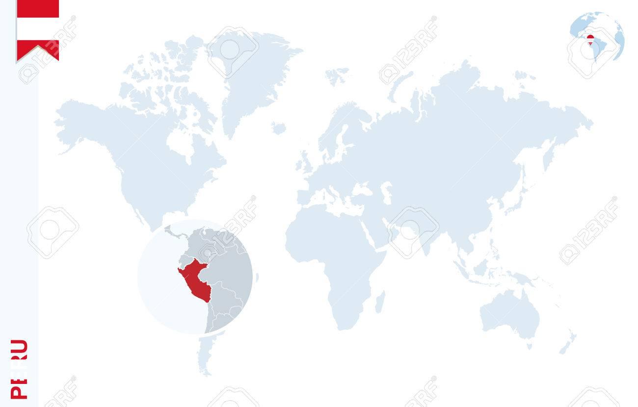 pérou carte du monde Carte Du Monde Avec Loupe Sur Le Pérou. Globe Terrestre Bleu Avec