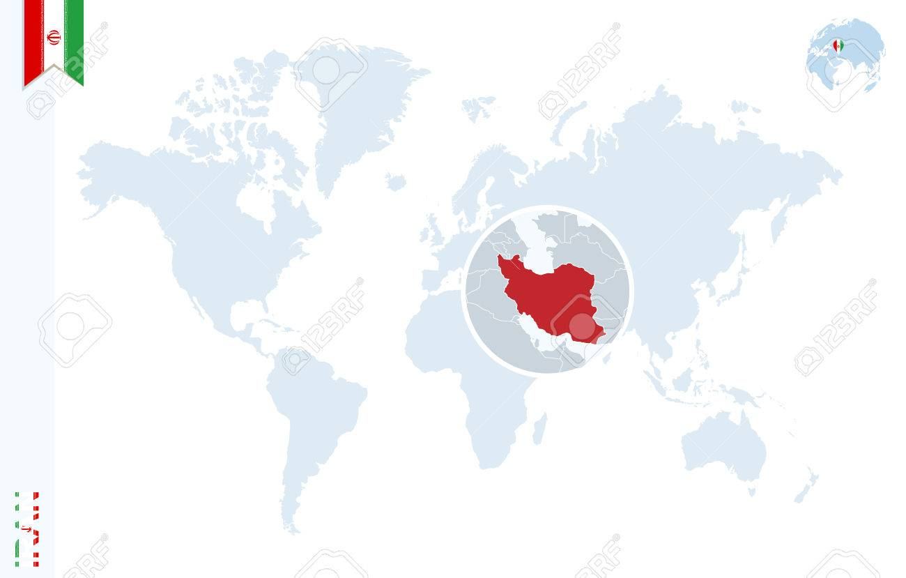 World Map With Magnifying On Iran. Blue Earth Globe With Iran ...