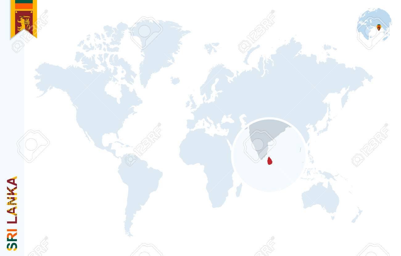 World map with magnifying on sri lanka blue earth globe with vector world map with magnifying on sri lanka blue earth globe with sri lanka flag pin zoom on sri lanka map vector illustration gumiabroncs Images