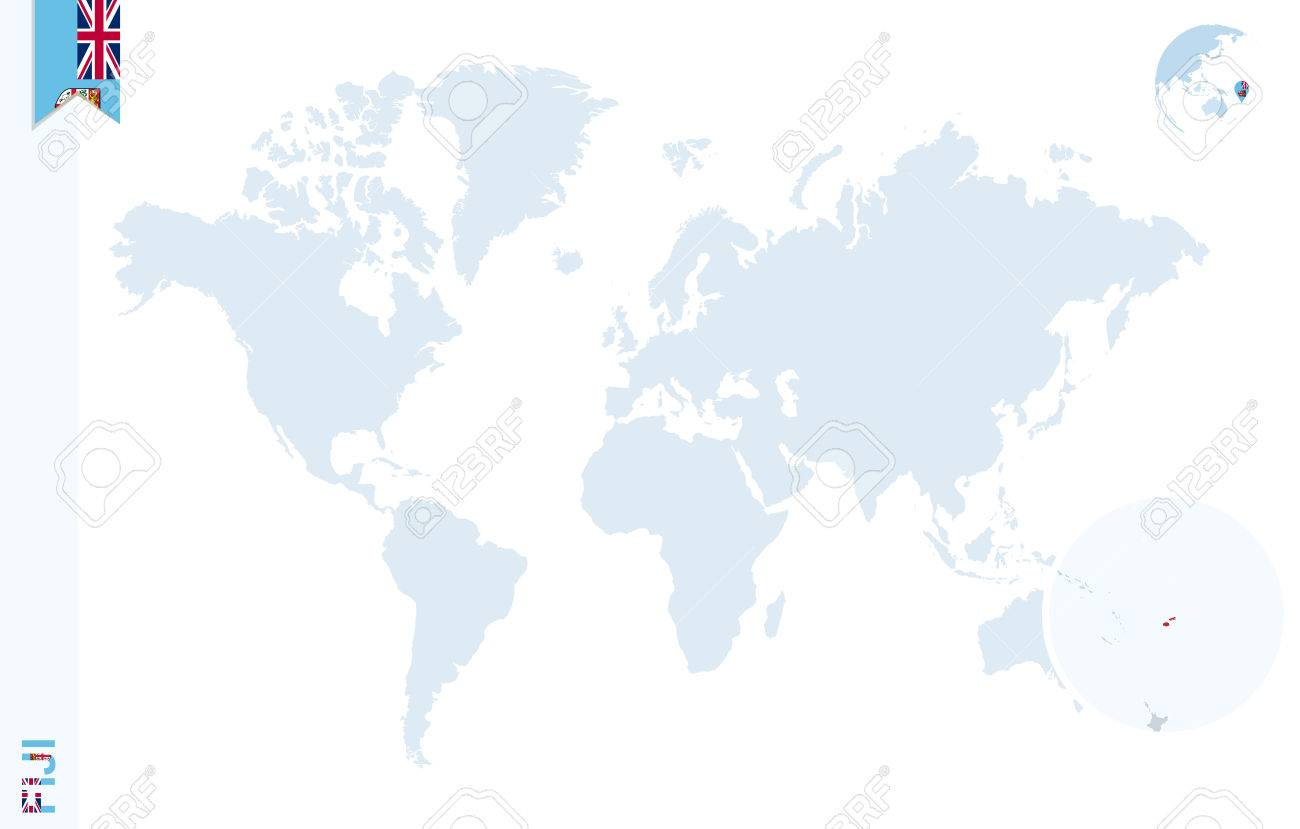 World map with magnifying on Fiji. Blue earth globe with Fiji..