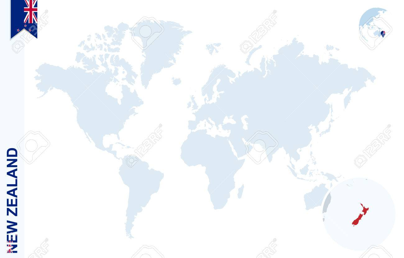 World Map With Magnifying On New Zealand Blue Earth Globe With