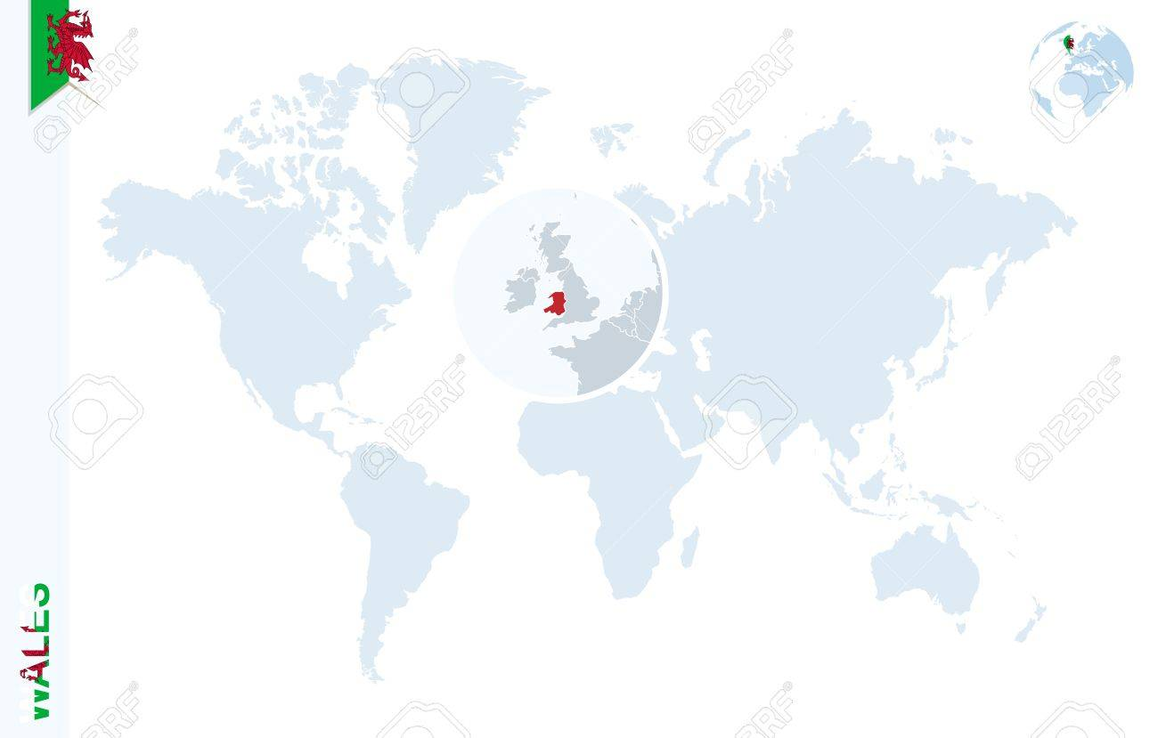 World Map With Magnifying On Wales. Blue Earth Globe With Wales ...