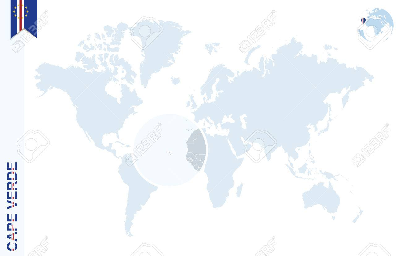 Where Is Cape Verde Located On The World Map.World Map With Magnifying On Cape Verde Blue Earth Globe With