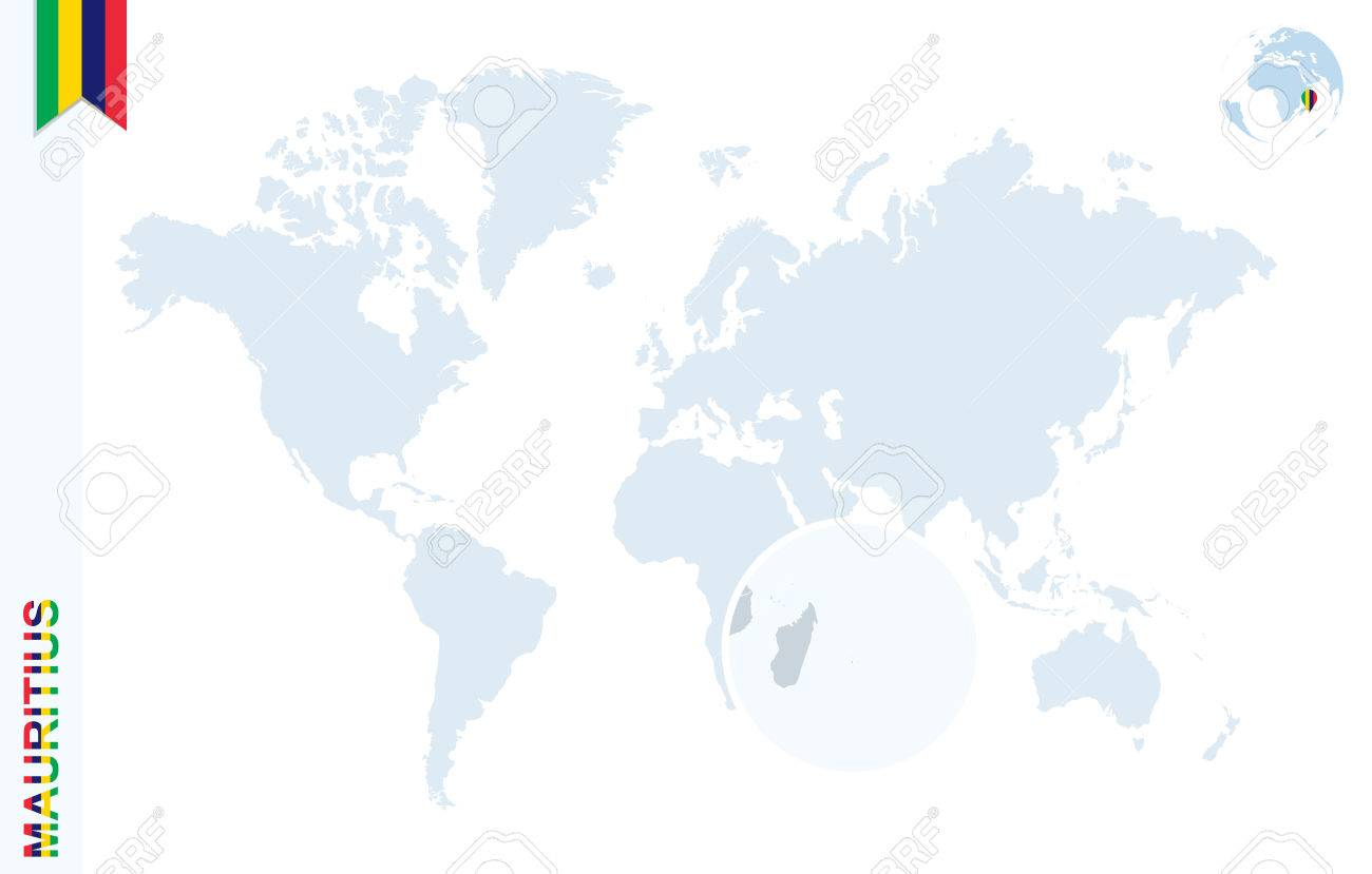 World Map With Magnifying On Mauritius. Blue Earth Globe With ...