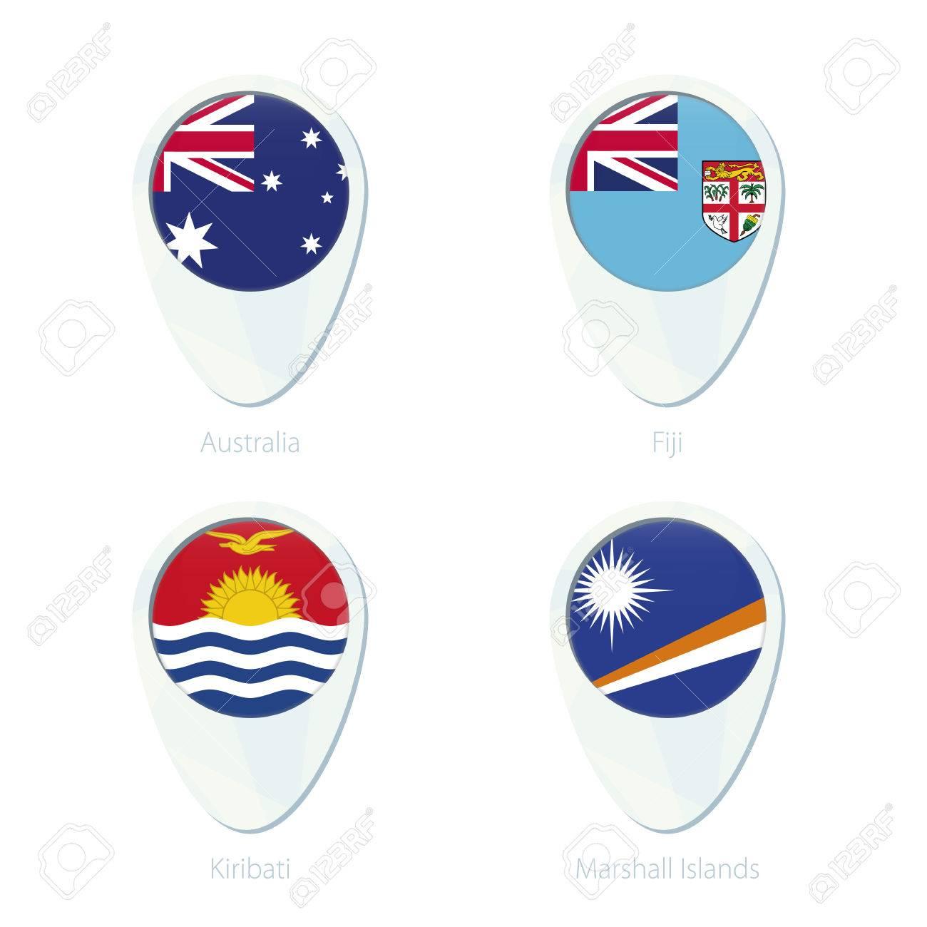 Australia, Fiji, Kiribati, Marshall Islands flag location map..