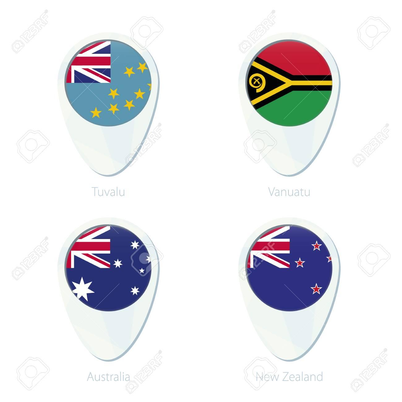 Tuvalu Vanuatu Australia New Zealand Flag Location Map Pin Icon
