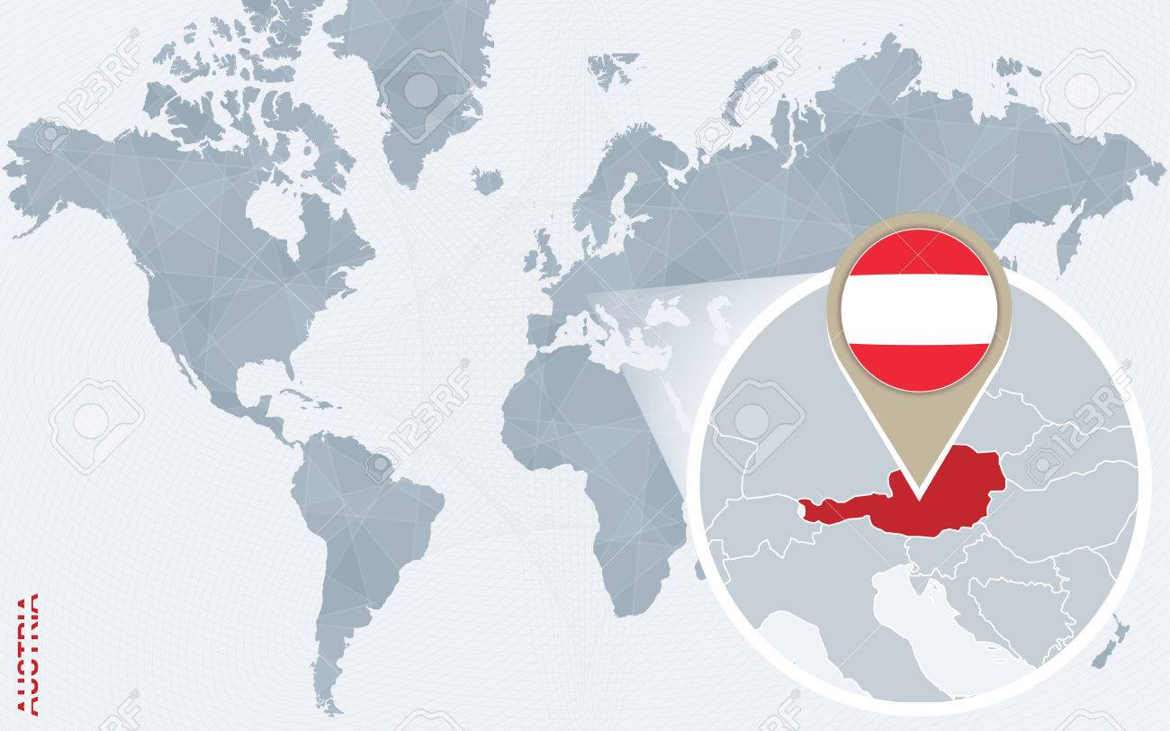 Image of: Abstract Blue World Map With Magnified Austria Austria Flag Royalty Free Cliparts Vectors And Stock Illustration Image 60061404
