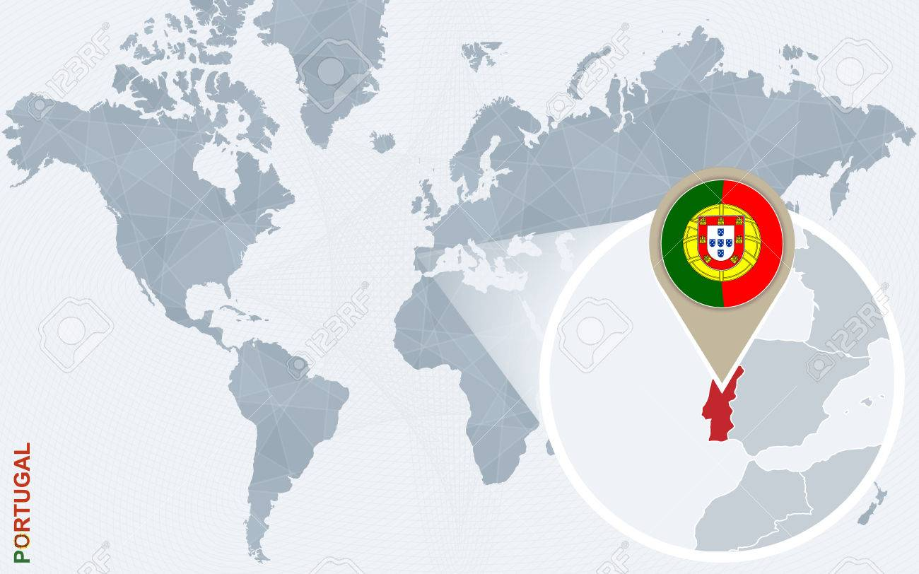 Abstract Blue World Map With Magnified Portugal Portugal Flag