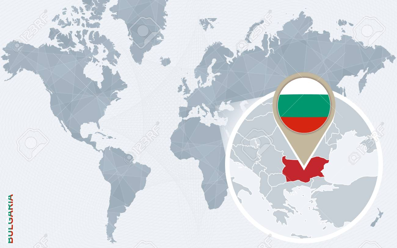 Picture of: Abstract Blue World Map With Magnified Bulgaria Bulgaria Flag Royalty Free Cliparts Vectors And Stock Illustration Image 60061464