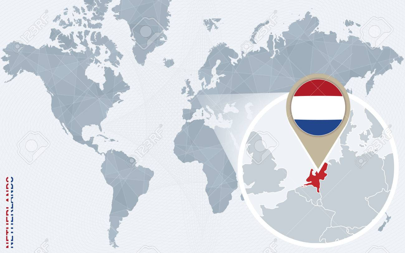 Abstract blue world map with magnified netherlands netherlands abstract blue world map with magnified netherlands netherlands flag and map vector illustration gumiabroncs Gallery
