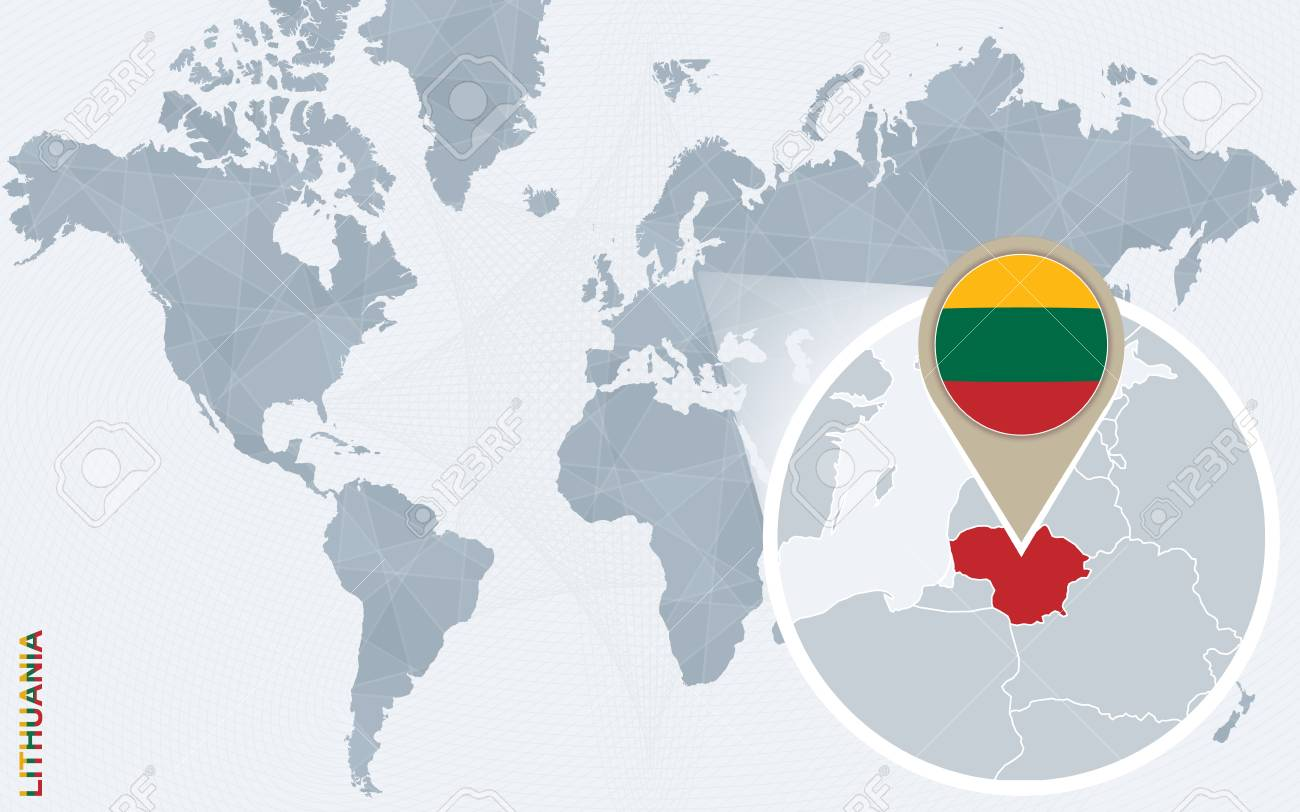 Abstract blue world map with magnified lithuania lithuania flag abstract blue world map with magnified lithuania lithuania flag and map vector illustration gumiabroncs Gallery