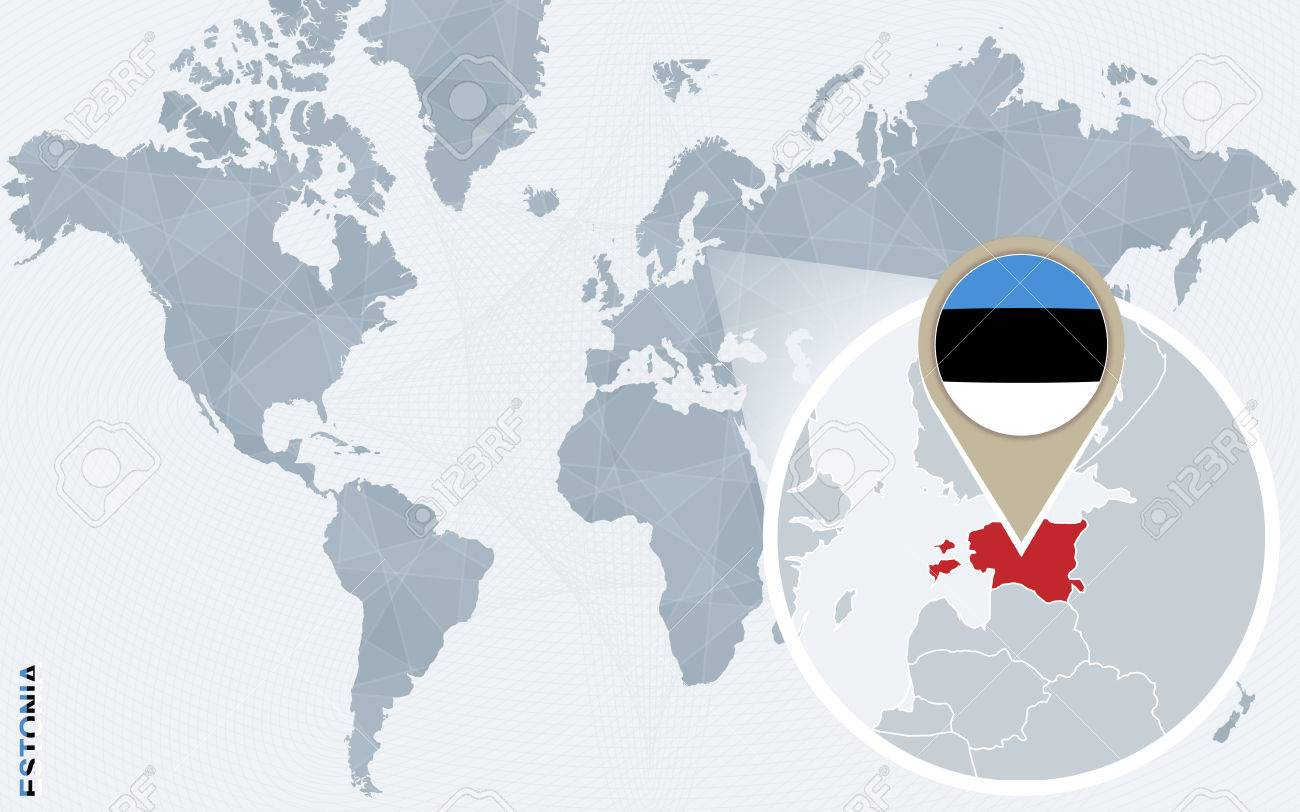 Abstract blue world map with magnified estonia estonia flag abstract blue world map with magnified estonia estonia flag and map vector illustration gumiabroncs Images