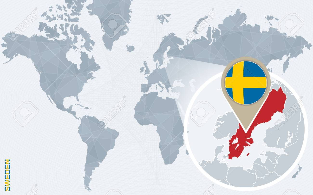 Abstract blue world map with magnified sweden sweden flag and abstract blue world map with magnified sweden sweden flag and map vector illustration sciox Choice Image