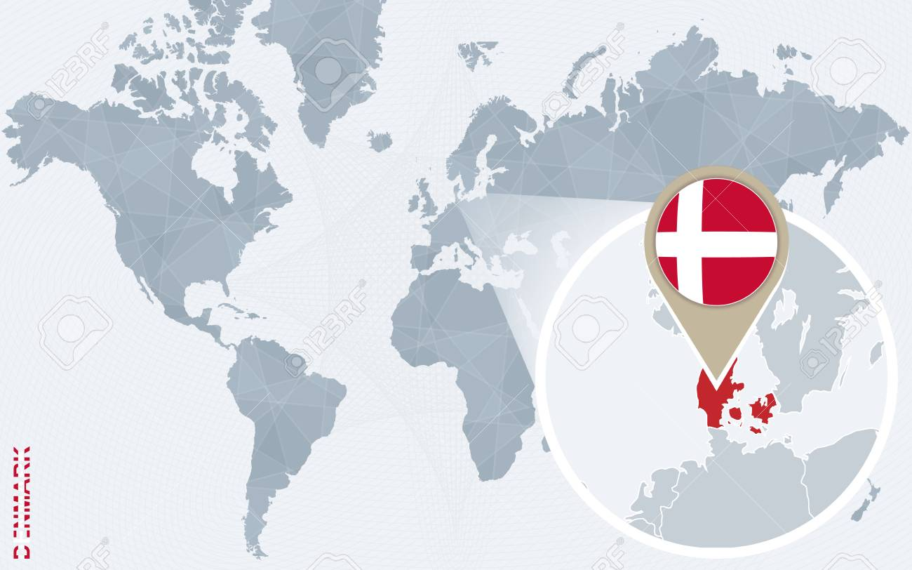 Abstract Blue World Map With Magnified Denmark. Denmark Flag ...