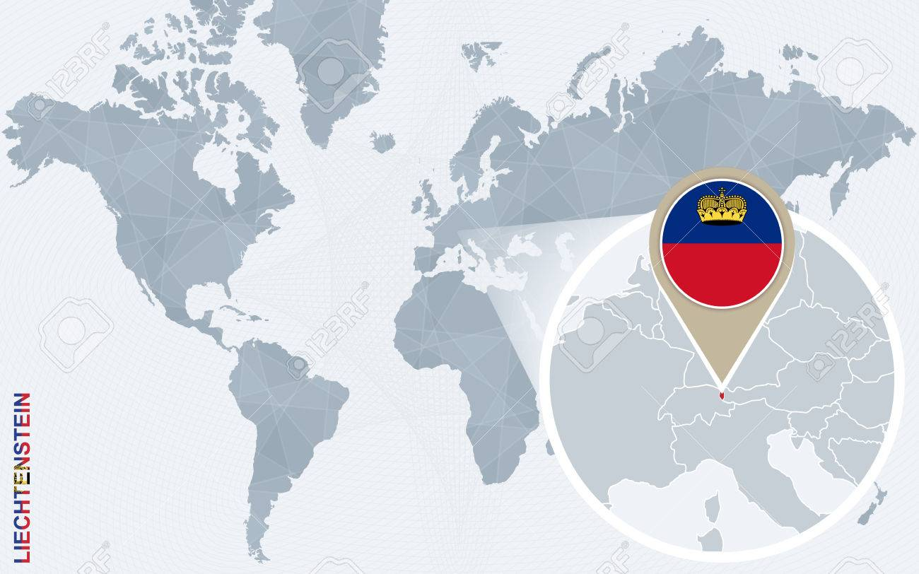 Abstract Blue World Map With Magnified Liechtenstein Liechtenstein