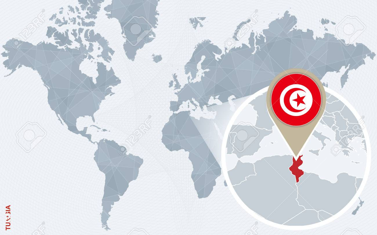 Image of: Abstract Blue World Map With Magnified Tunisia Tunisia Flag Royalty Free Cliparts Vectors And Stock Illustration Image 60430298