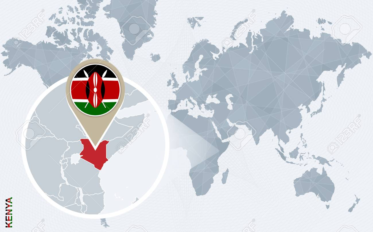 Abstract Blue World Map With Magnified Kenya Kenya Flag And