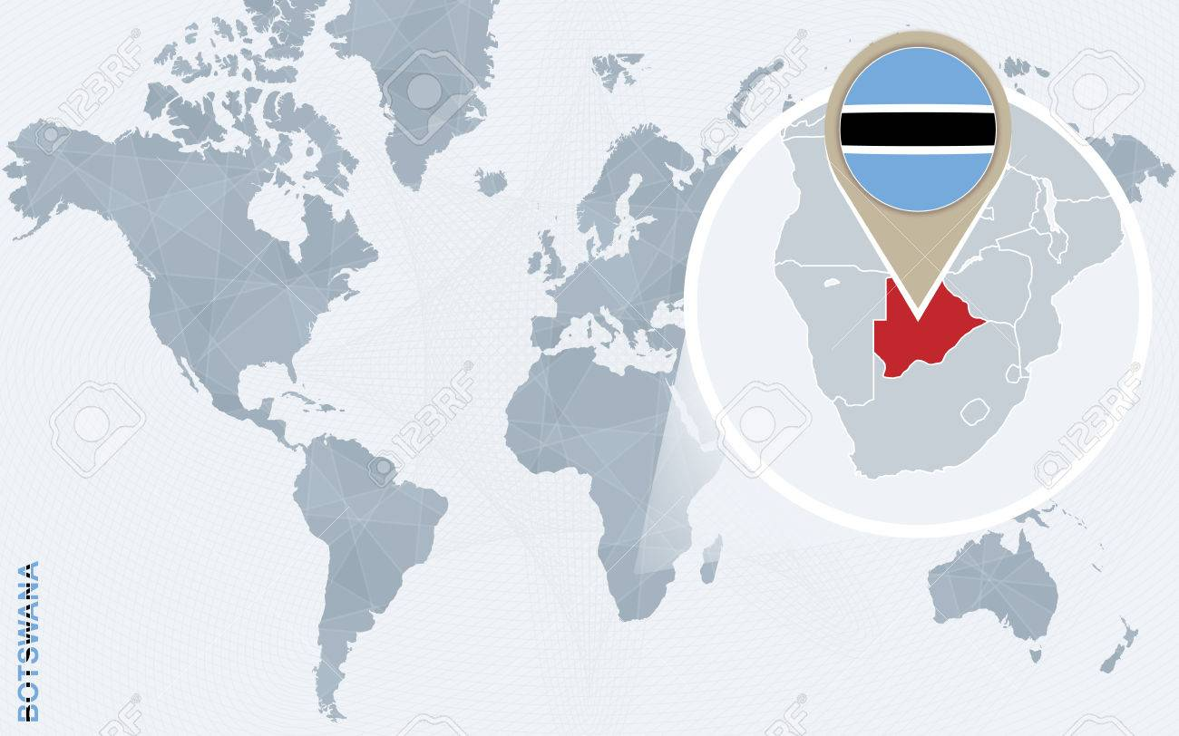 Picture of: Abstract Blue World Map With Magnified Botswana Botswana Flag Royalty Free Cliparts Vectors And Stock Illustration Image 60611596