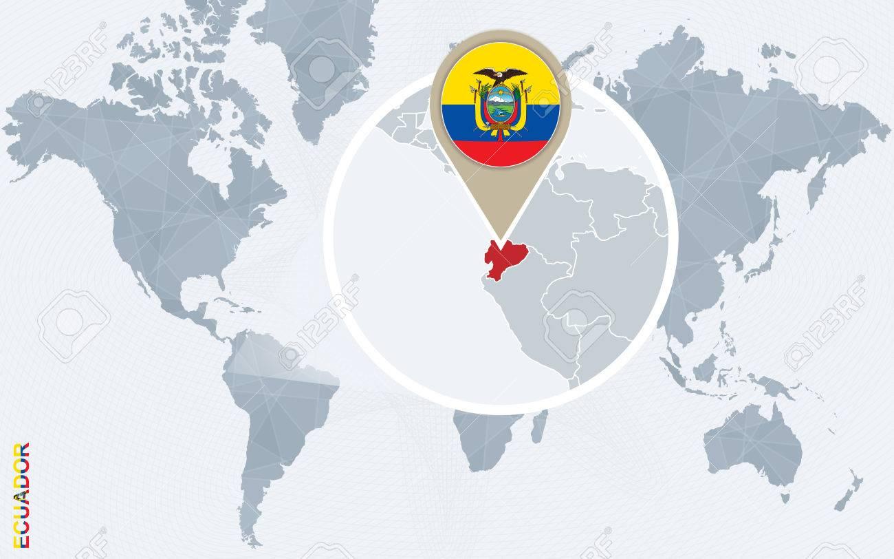 Carte Du Monde Avec Equateur.Carte Bleue Resume Du Monde Avec Magnifie L Equateur Drapeau Equateur Et La Carte Vector Illustration