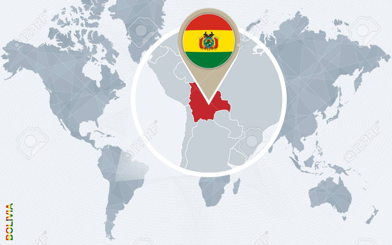 Picture of: Abstract Blue World Map With Magnified Bolivia Bolivia Flag Royalty Free Cliparts Vectors And Stock Illustration Image 60648927