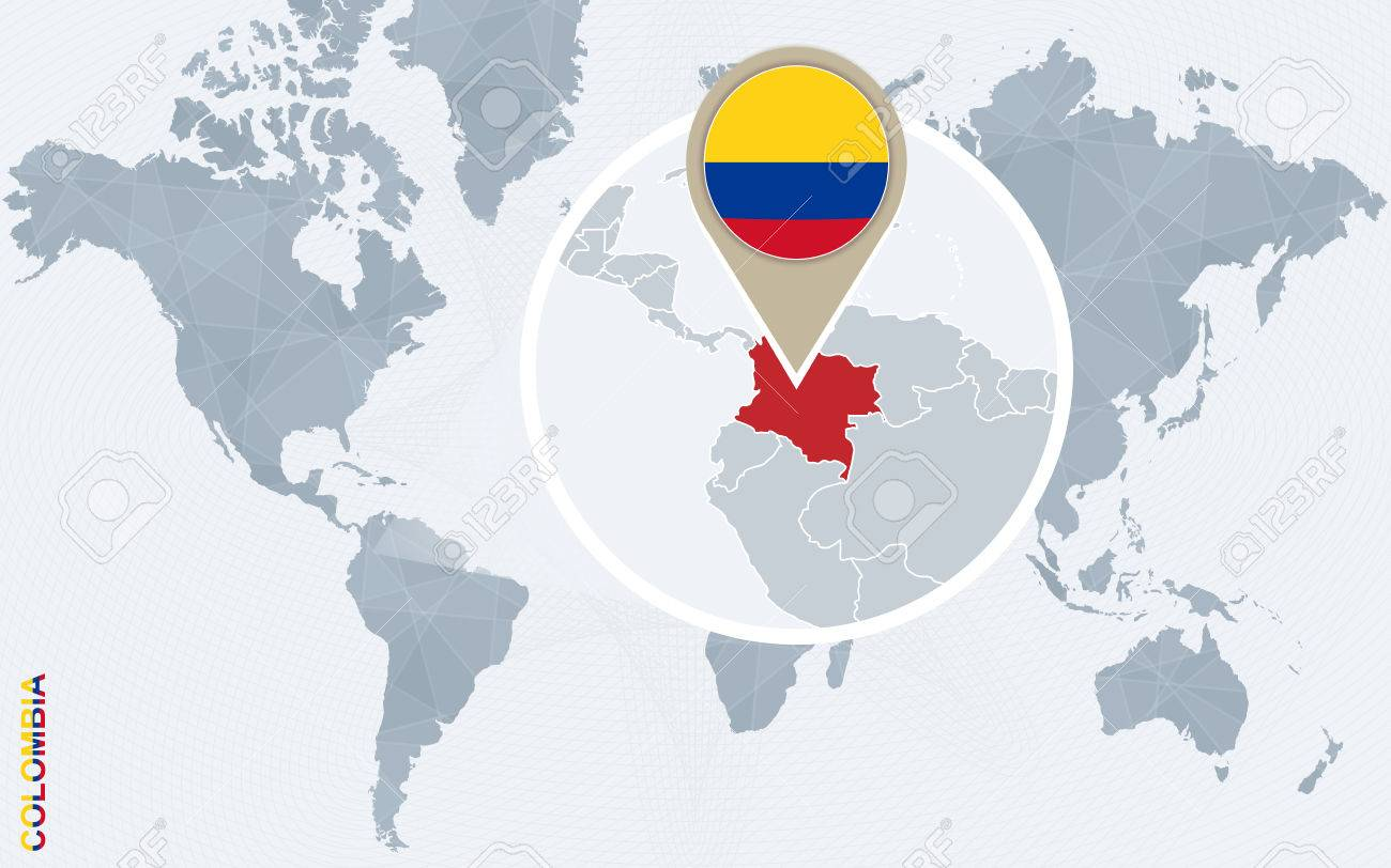 Abstract Blue World Map With Magnified Colombia. Colombia Flag ...