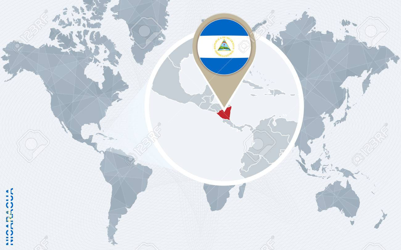 Abstract Blue World Map With Magnified Nicaragua Nicaragua Flag - Where is nicaragua on the world map