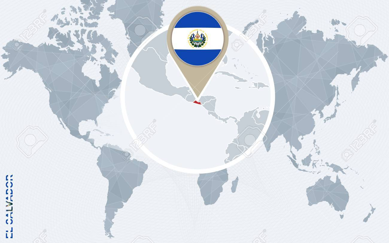 Abstract blue world map with magnified el salvador el salvador abstract blue world map with magnified el salvador el salvador flag and map vector gumiabroncs Gallery