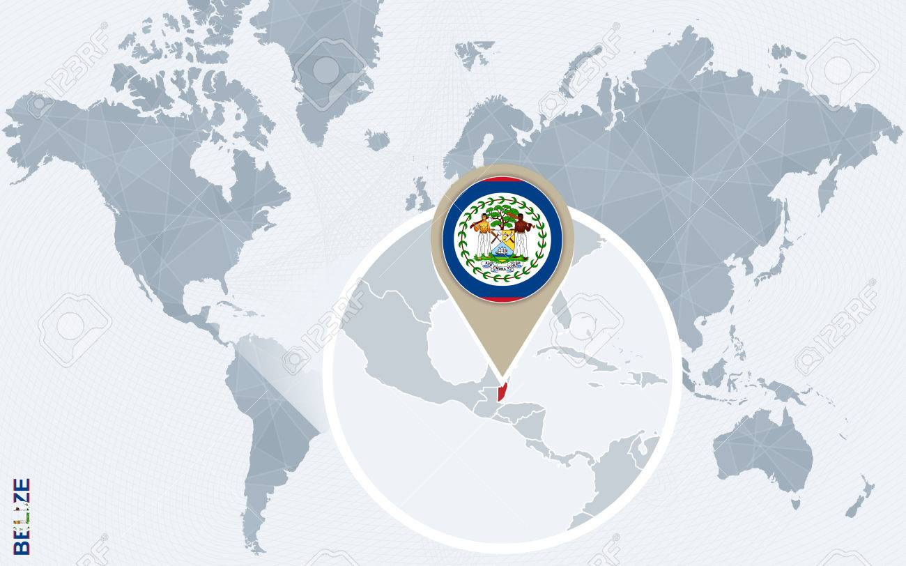 Abstract Blue World Map With Magnified Belize Belize Flag And