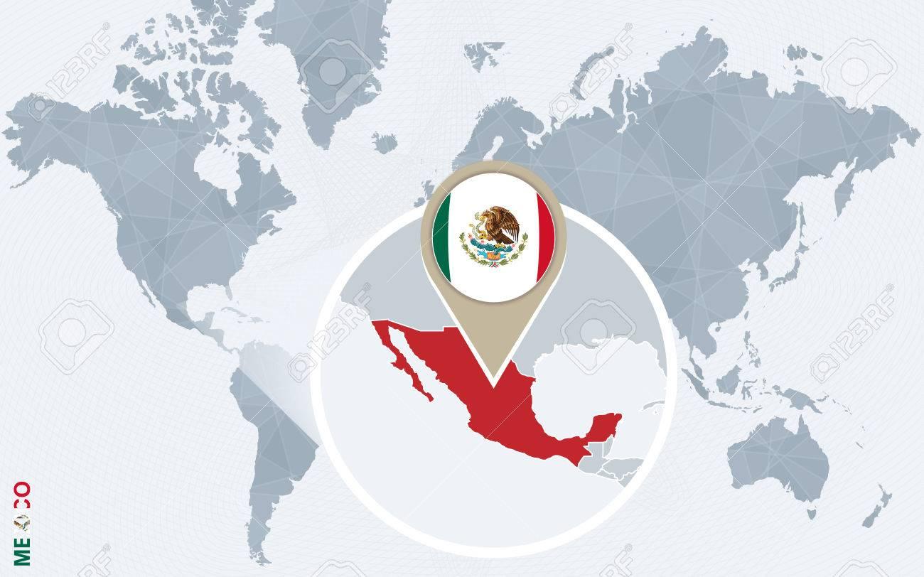 mapa mundo mexico Resumen Mapa Del Mundo Azul Con México Ampliada. Bandera De México  mapa mundo mexico