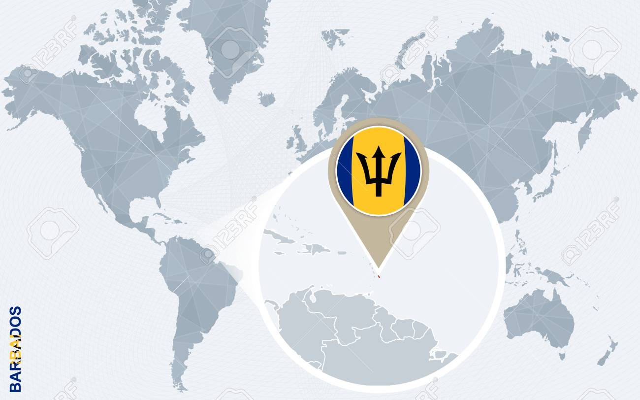 Picture of: Abstract Blue World Map With Magnified Barbados Barbados Flag Royalty Free Cliparts Vectors And Stock Illustration Image 61038255