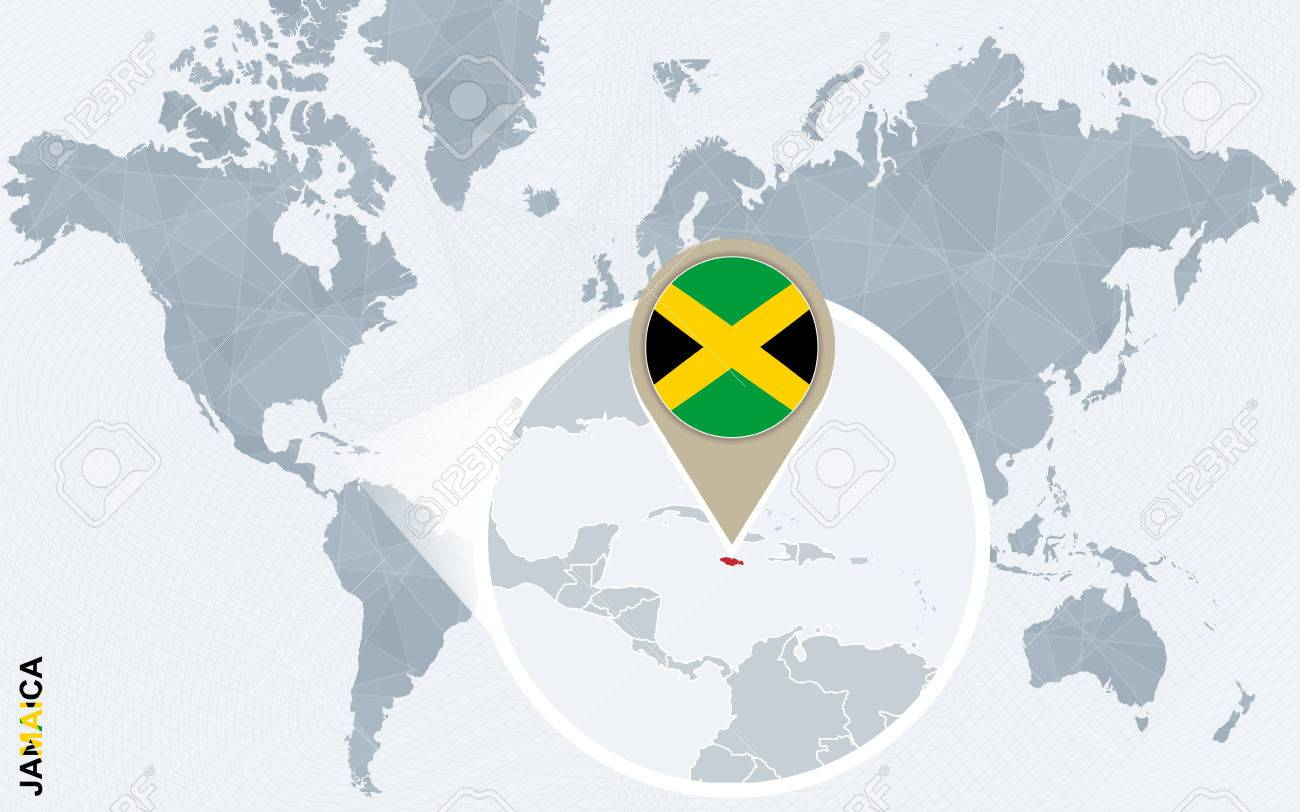 abstract blue world map with magnified jamaica jamaica flag and map vector illustration