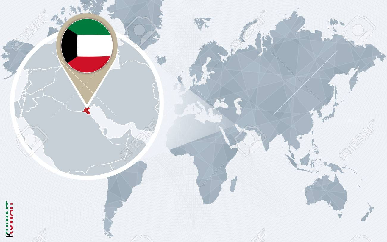 Abstract blue world map with magnified Kuwait. Kuwait flag and..