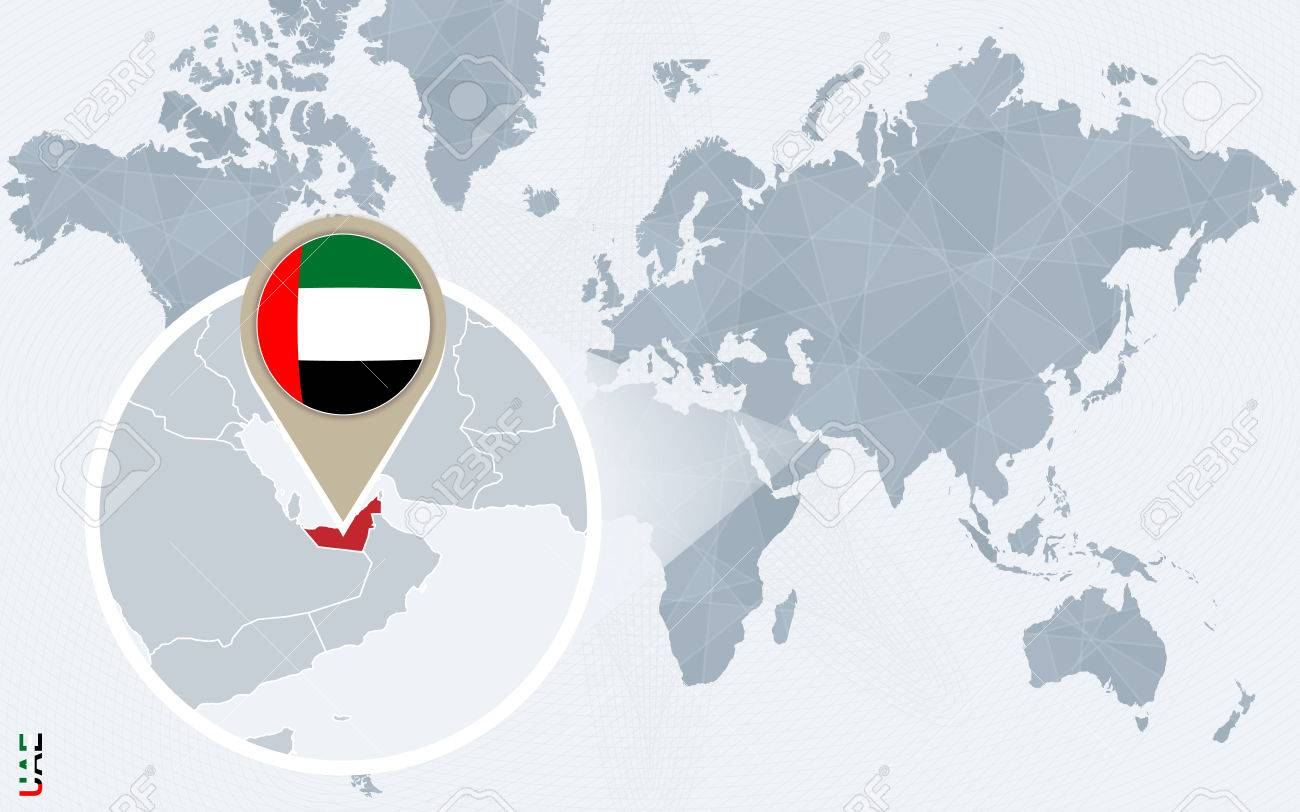 Abstract blue world map with magnified united arab emirates abstract blue world map with magnified united arab emirates uae flag and map vector gumiabroncs Images