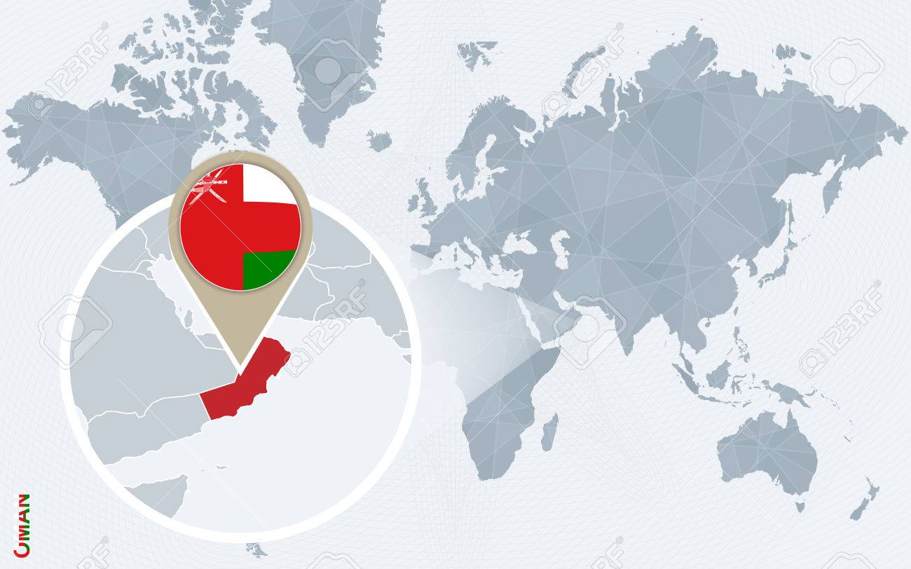 Abstract Blue World Map With Magnified Oman Oman Flag And Map